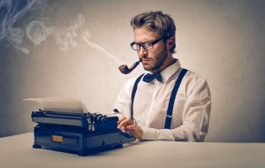 Gent on Typewriter
